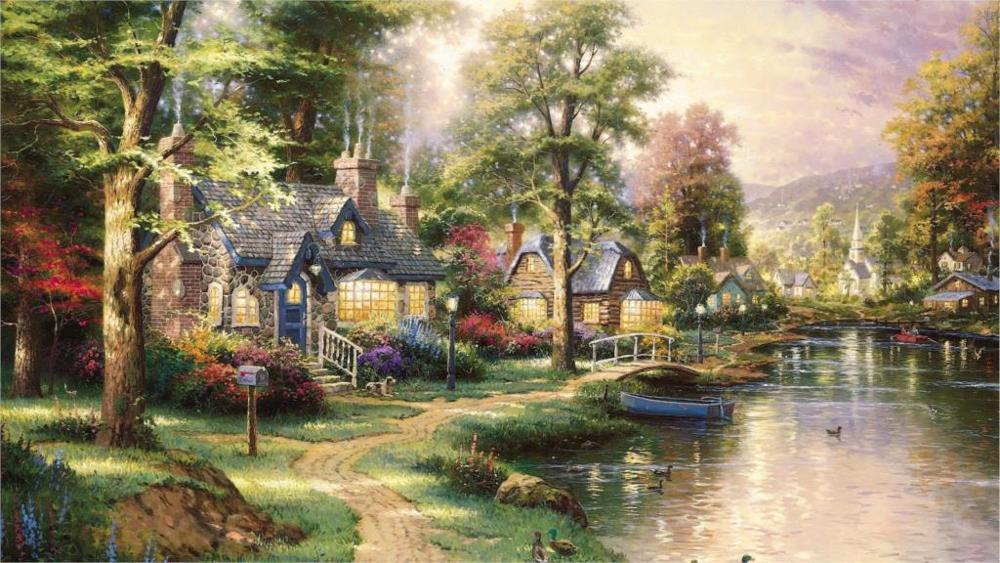 Linda-pintura-art-paisagem-pintura-bonita-Hometown-Lago-sentimento-bom-4-Size-Canvas-Poster-Print